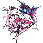 TattooGirlsRule Wolf Tearing Out Temporary Tattoo (#D479)