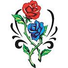 TattooGirlsRule Large Red and Blue Roses Temporary Tattoo (#VS447)