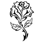 TattooGirlsRule Large Black Outline Rose Temporary Tattoo (#VS448)
