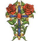 TattooGirlsRule Large Fancy Cross with Roses Temporary Tattoo (#VS501)