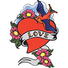 TattooGirlsRule Love Heart with Bluebird Temporary Tattoo (#TH522)