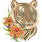 TattooGirlsRule Tiger with Lillies Temporary Tattoo (#D533)