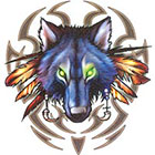 TattooGirlsRule Tribal Wolf Temporary Tattoo (#BR549)