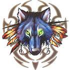 TattooGirlsRule Tribal Wolf Temporary Tattoo (#BR549)