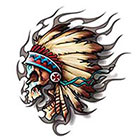 TattooGirlsRule Native American Chief Skull Temporary Tattoo (#BR555)
