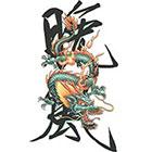 TattooGirlsRule Chinese Dragon with Kanji Temporary Tattoo (#BC566)
