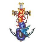 TattooGirlsRule Mermaid on Anchor Temporary Tattoo (#BN554)