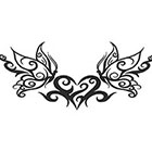 TattooGirlsRule Butterflies and Heart Lower Back Temporary Tattoo (#B525)