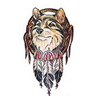 TattooGirlsRule Large Wolf Dream Catcher Temporary Tattoo (#D8045B)