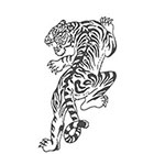TattooGirlsRule Large Black Outline Tiger Temporary Tattoo (#611B)