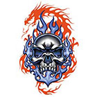 TattooGirlsRule Blue Skull Red Dragon Temporary Tattoo (#EG531)