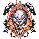 TattooGirlsRule Flaming Skull with Dragons Temporary Tattoo (#EG533)