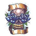 TattooGirlsRule Skull with Blue Roses Temporary Tattoo (#TC508)