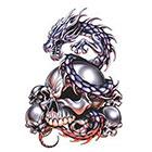 TattooGirlsRule Dragon Guarding Skulls Temporary Tattoo (#EG543)