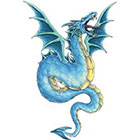 TattooGirlsRule Blue Flying Dragon Temporary Tattoo (#BC557)