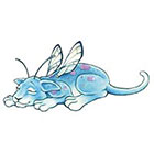 TattooGirlsRule Sleepy Fairy Cat Blue Temporary Tattoo (#BC558)