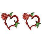 TattooGirlsRule 2 Heart with Rose Ring Temporary Tattoos (#D459_2)