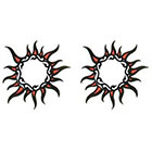 TattooGirlsRule 2 Red-Gold Sun Ring Temporary Tattoos (#D418_2)