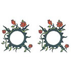 TattooGirlsRule 2 Black Sun with Roses Ring Temporary Tattoos (#D498_2)