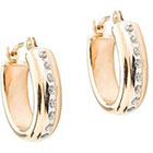 Diamond 14K Yellow Gold Accent Oval Hoop Earrings - Yellow