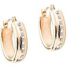 Diamond 14K Yellow Gold Accent Oval Hoop Earrings - Yellow