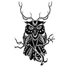 Tattoocrew Includes 2 tattoos: temporary handdrawn, antler, temporary tattoo, owl tattoo, owl, animal, black and white, art, body art