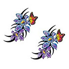 TattooGirlsRule 2 Violet Flowers with Butterfly Temporary Tattoos (#D484_2)