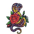 TattooGirlsRule Snake with Rose Temporary Tattoo (#ASM439)