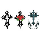 TattooGirlsRule 3 Tribal Cross Temporary Tattoos (#G531)
