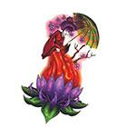 TattooGirlsRule Beautiful Geisha on Lotus Temporary Tattoo (#BN542)