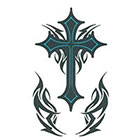 TattooGirlsRule Large Dark Blue Tribal Cross Temporary Tattoo (#830)