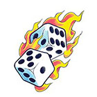 TattooGirlsRule Flaming Dice Temporary Tattoo (#D555)