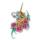 TattooGirlsRule Large Unicorn with Flowers Temporary Tattoo (#D8025)