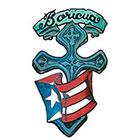 TattooGirlsRule Large Puerto Rico Flag on Cross Temporary Tattoo (#PR701)