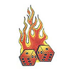 TattooGirlsRule Red Flaming Dice Temporary Tattoo (#TH524)