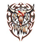 TattooGirlsRule Large Steer Skull with Tribal Feathers Temporary Tattoo (#BR548B)