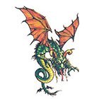TattooGirlsRule Green Flying Dragon Temporary Tattoo (#AA512)