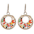 Natasha Accessories Imitation Gold Beaded Earring Bugle Beads - Multicolor (2