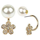 Target Zirconite Women's Zirconite Pearl/Flower Crystal Peekaboo Earring - White