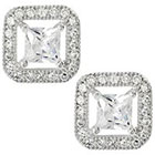 Tressa Collection Cubic Zirconia Square Halo Stud Earrings in Sterling Silver