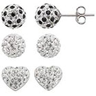 Kohl's Crystal Splendor Platinum Over Silver Heart & Ball Stud Earring Set