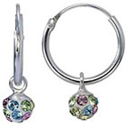 Target Sterling Silver Crystal Ball Hoop Earring - Pink/Green