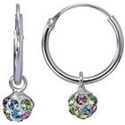 Target Sterling Silver Crystal Ball Hoop Earring - Pink/Green