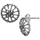 Target Silver Plated Marcasite Filigree Button Earrings