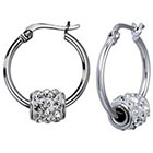 Target Silver Plate Hoop Earrings with Crystals - Silver