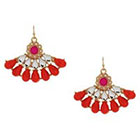 Target Statement Earrings with Stones-- Gold/Coral