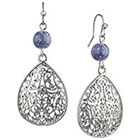 Target Rhodium Teardrop Filigree with Round Bead Drop Dangle Earrings - Silver/Blue
