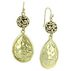 Target Drop Earrings with Hammered Teardrop Design - Gold