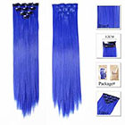 Amazon Neitsi 10pcs 18inch Colored Highlight Synthetic Clip on in Hair Extensions #F14 Blue