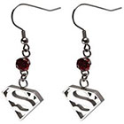 DC Comics Logo Women's DC Comics Superman Logo Stainless Steel Dangle Earrings with Gem